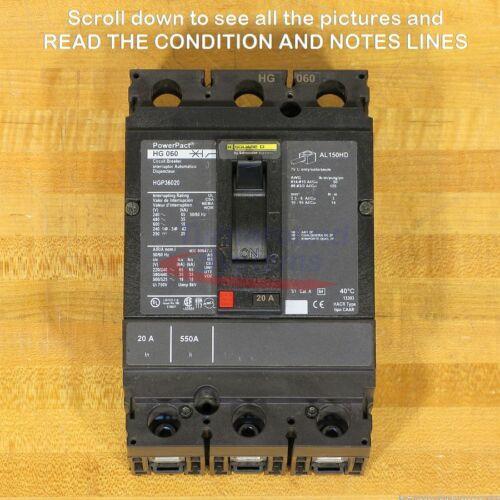 Square D Hgp36020 Circuit Breaker, 20 Amp, 600 Volt, New!