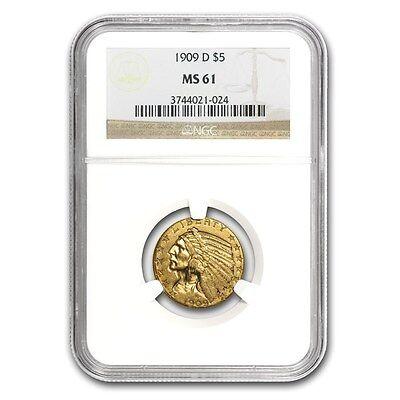 $5 Indian Gold Half Eagle MS-61 NGC - SKU #23207