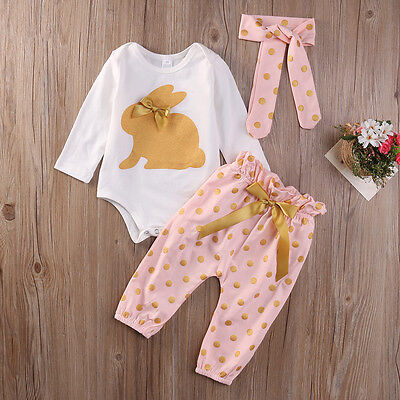 3Pcs Newborn Infant Baby Girls Summer Clothes Romper Playsuit Pants Outfits Set