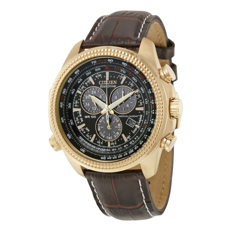 Citizen Perpetual Calendar Chronograph Brown Dial Mens Watch BL5403-03X
