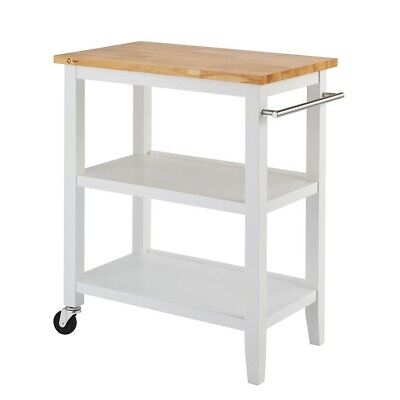 Trinity Wood Kitchen Cart, White - TBFLWH-1402