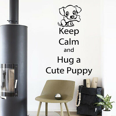 Dog Wall Decal Quote Keep Calm Cute Puppy Vinyl Sticker Pet Shop Decor Art kk733