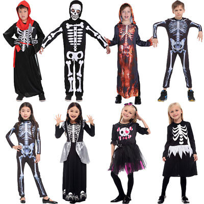 Halloween Costumes for Kids Scary Skull Skeleton Costume Dress Robe for Boy Girl - Scary Costumes For Kid