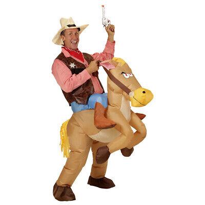 AUFBLASBARES COWBOYKOSTÜM Reiter Pferd Sheriff Western Herren Cowboy Kostüm 7550 ()