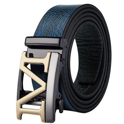USA Blue Leather Mens Belts Designer Hollow M Ratchet Buckle Italian Dress Belt - Italian Dress Belt