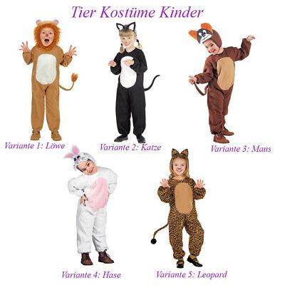 TIER KOSTÜM KINDER Karneval Fasching Löwe Katze Maus Hase Leopard Ohren # K11