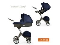 Stokke Xplory Navy Single Seat Stroller + Travel System + Accessories
