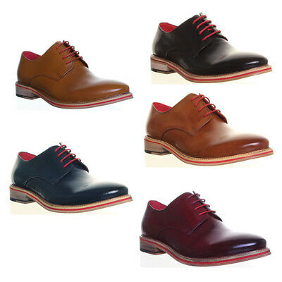 Justin Reece Mens Leather Formal Derby Shoes In Black UK Sizes 6 - 12