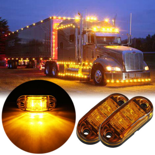 "2X 2.6"" Clearance Amber Oval Led Lamp 2 Diode Trailer Truck Side Marker Light"