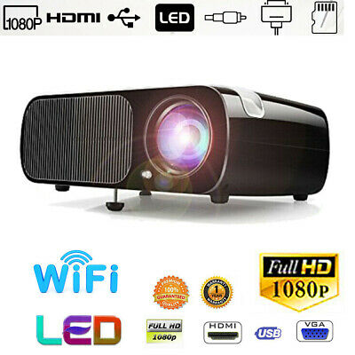 WIFI LED Projector Home Theater Cinema HD 1080P Multi-meida Player 2*HDMI 2*USB