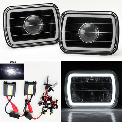 "7X6"" 6K HID Xenon H4 Black Projector Glass CCFL White Halo Headlight Pair Chevy"