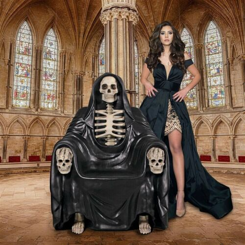 Gothic Grim Reaper Afterlife Throne Gruesome Skeleton Chair Halloween Decor