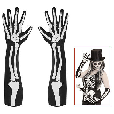 SKELETT HANDSCHUHE # Halloween Sensenmann Knochenmann Damen Kostüm Party 01089 ()