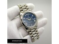 Rolex Day Date 40 Blue Roman Dial White Gold President