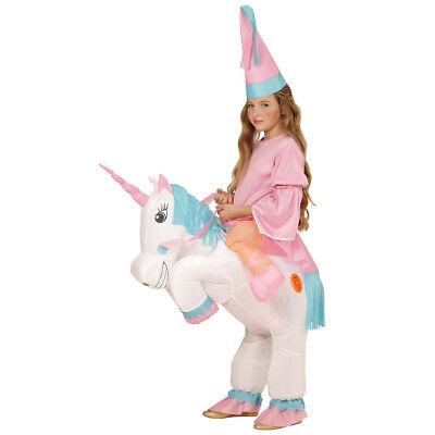Mädchen Pferde-kostüm (AUFBLASBARES EINHORN KINDER KOSTÜM Karneval Fasching Unicorn Pferd Mädchen 75502)