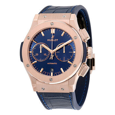 Hublot Classic Fusion Blue Sunray Dial 18K King Gold Automatic Mens Watch