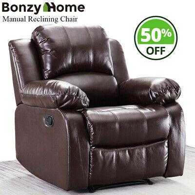 Oversize Recliner Manual Reclining Chair Sofa Leather Wall Hugger Armrest Chair
