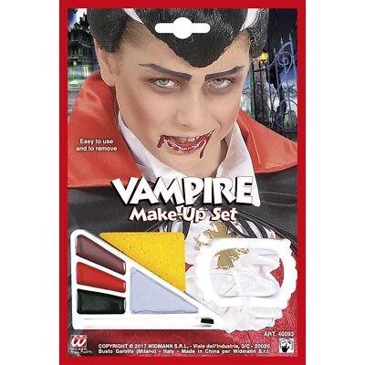 KINDER VAMPIRZÄHNE & SCHMINKE Halloween Vampir Gebiss Kostüm MakeUp Farbe 40093