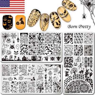 3Pcs BORN PRETTY Nail Stamping Plates Halloween Ghost Pumpkin Nail Art - Halloween Nail Art Stamping