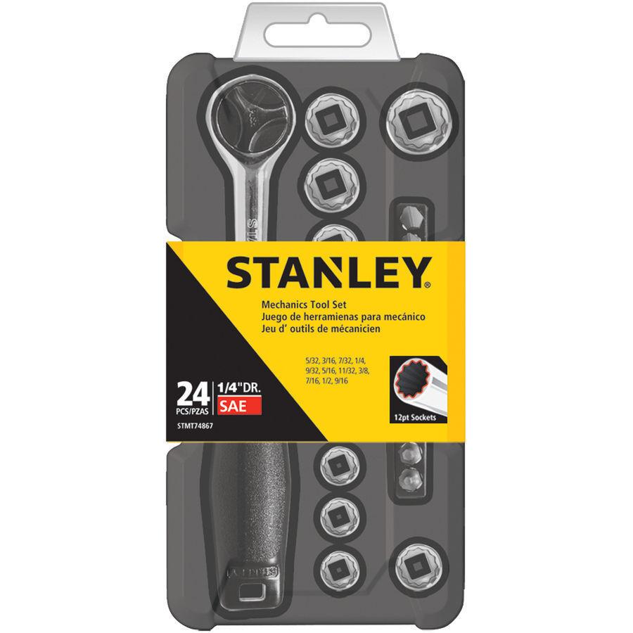 Stanley 24 Piece SAE Standard Mechanic Tool Set Kit Hard