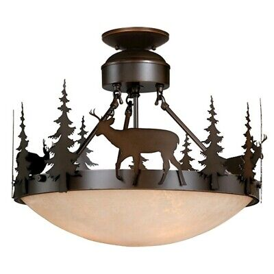 18 Semi Flush (Vaxcel Bryce 18' Semi-Flush Ceiling Light Burnished Bronze - CF55418BBZ)