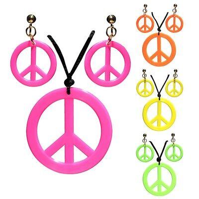 ET Peacezeichen Kette Ohrclipse Ohrringe Kostüm Schmuck 5347 (Peace Zeichen Kostüm Schmuck)