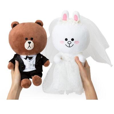Original Line Friends Brown Cony Wedding Costume Plush Dolls 9.8