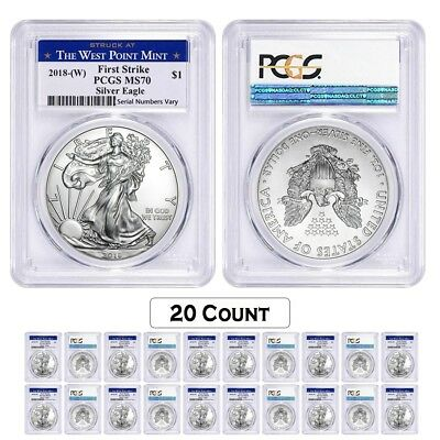 Lot of 20 - 2018 (W) 1 oz Silver American Eagle $1 Coin PCGS MS 70 FS West Point