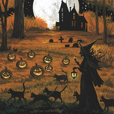 8x8 PRINT OF PAINTING RYTA FOLK HALLOWEEN BLACK CAT WITCH VINTAGE STYLE haunted