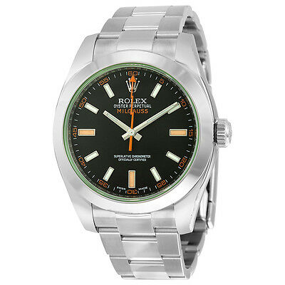 Rolex Milgauss Black Dial Domed Bezel Green Crystal Oyster Bracelet Unisex Watch