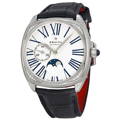 Zenith Elite Heritage Star Moonphase Silver Dial Brown Leather Ladies Watch