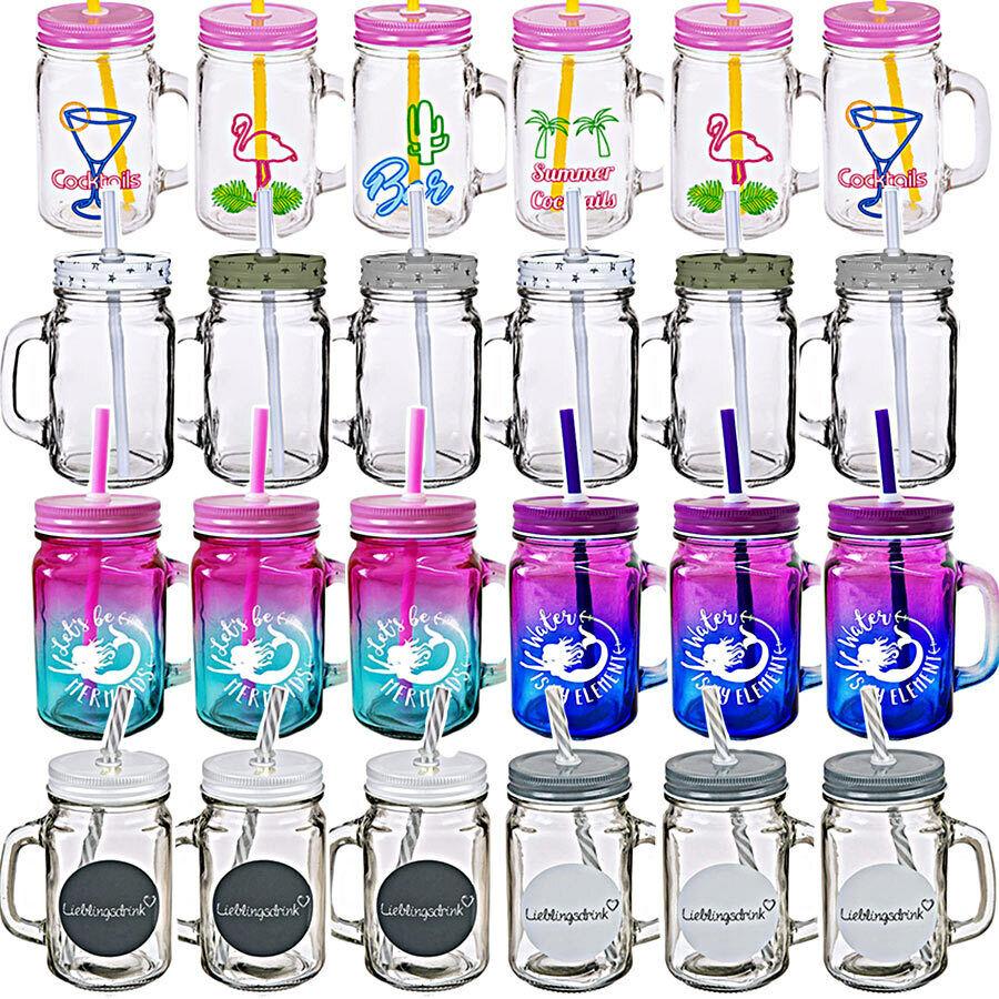 6 x Trinkglas mit Deckel Henkel & Trinkhalm Strohhalm Trinkgläser klar Auswahl