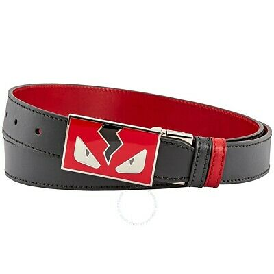 Authentic Fendi Monster Eyes Reversible Leather Belt  Red Black Adjustable £ 430