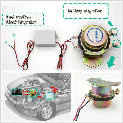 Car Battery Switch Solenoid Valve Terminal Master Kill System+2x Remote Control