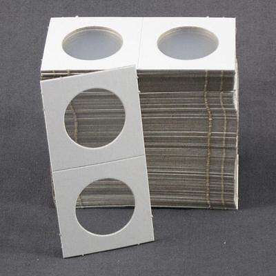 100 Cardboard 1.5x1.5 Coin Holder Mylar Flips for Quarters 1 1/2 x 1 1/2