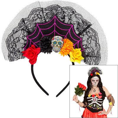 TAG DER TOTEN HAARREIF Schleier Reif Blüten Totenkopf Dia de Muertos Fest 09641