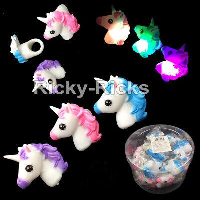 24 Light-Up Unicorn Rings Flashing LED Party Favors Baby Shower