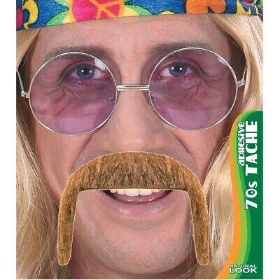 70er JAHRE SCHNURRBART # Blonder Schnauzer Oberlippenbart Hippie Party Bart 0847 ()