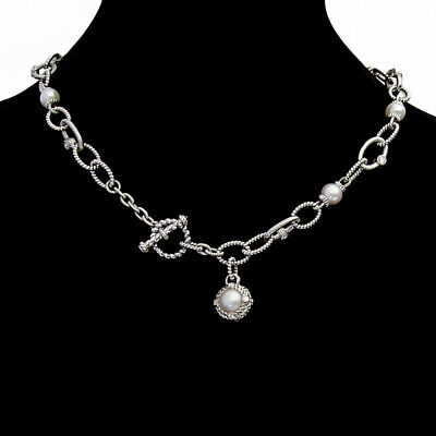 Judith Ripka Pearl Chain Necklace Toggle Clasp Sterling Silver CZ