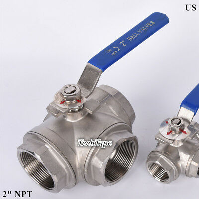 3 Way Ball Valve 2 Inch Npt T Port Stainless Steel 1000 Psi Water Oil Gas Us