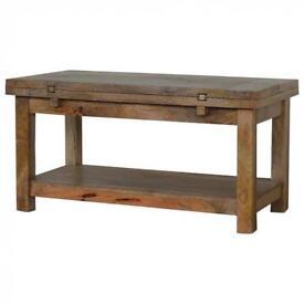 Extending Rustic Hardwood Coffee Table