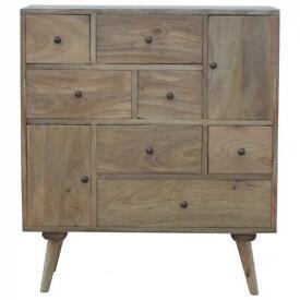 Mid-Century Modern Solid Hardwood Multi Drawer Chest/Cabinet