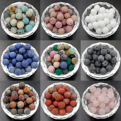 Wholesale Natural Matte Frosted Gemstone Round Loose Beads 4mm 6mm 8mm 10mm 12mm