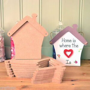 3 Blank Craft HOUSE, HOME, COTTAGE  shaped wooden plaques with hanging holes