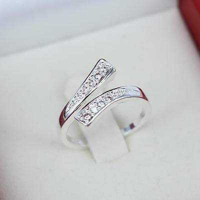 925 Sterling Silver Wishbone Thumb Finger Ring Platinum Plated Adjustable R15
