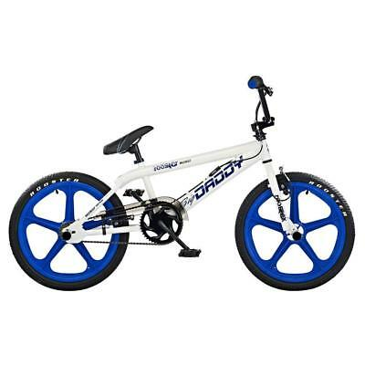 "Rooster Big Daddy Kids 20"" Skyway Mag Wheels BMX Bike Cycle Gyro White Blue RS32"
