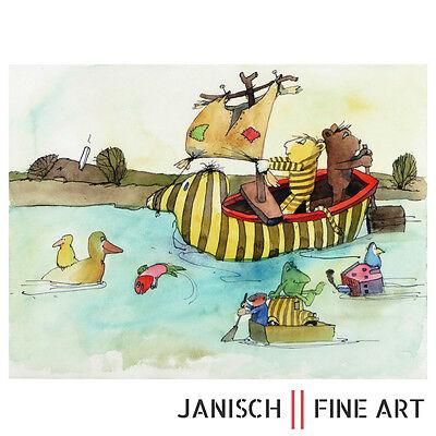 """JANOSCH - Farblithografie """"Abenteuerland"""", handsigniert, Auflage 350, 2013 !"""