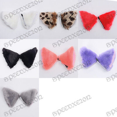 Cat Fox Long Fur Ears Neko Costume Hair Clip Halloween Cosplay Party Orecchiett  (Neko Halloween Costumes)
