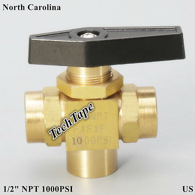 Needle 3 Way Brass Ball Valve 12 Npt L Port Panel Mount Instrument Gas Oil Us