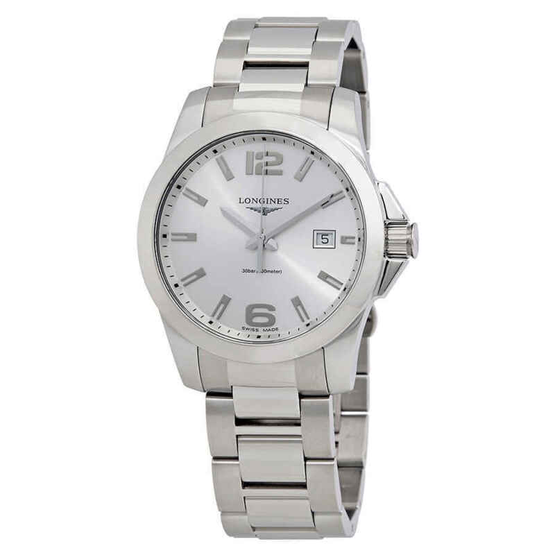 Longines Conquest Silver Dial Stainless Steel Men 41mm Watch L37594766